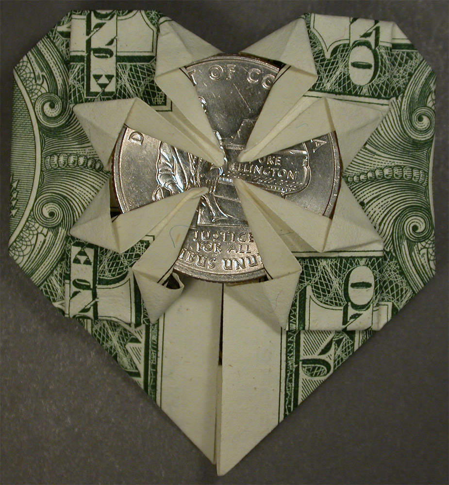 Origami heart dollar bill with a district of columbia duke origami heart dollar bill with a district of columbia duke ellington quarter jeuxipadfo Images