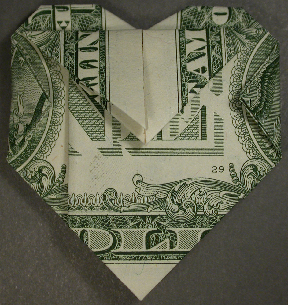 origami heart dollar bill with a district of columbia