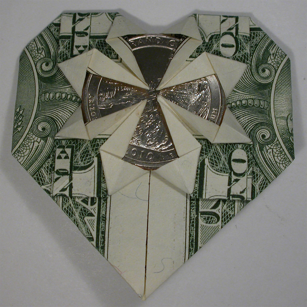 origami heart dollar bill with grand canyon quarter 3